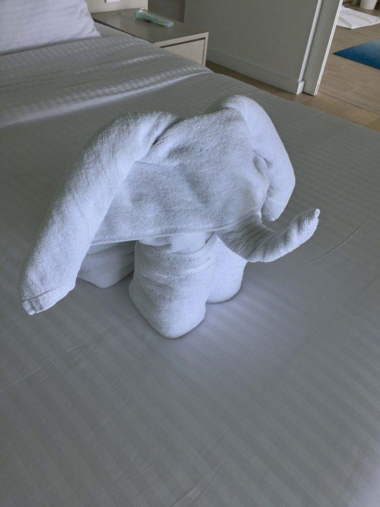 ハウスキーパーさんがタオルで作った象がいました